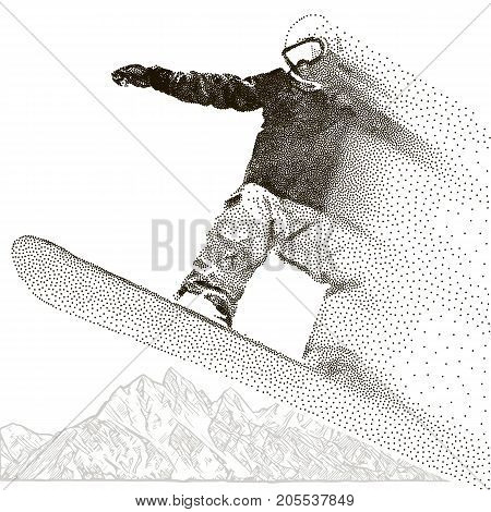 Snowboarder extreme. Jumping and flight by air. Snowboard tricks. Mountains ranges. Spiky mountain landscape. Extreme sport, adventure travel and tourism. Particles. Vector panorama illustration