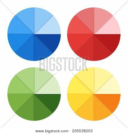 Pie chart on isolated background. Business data colorful elements for infographics. Vector illustration.