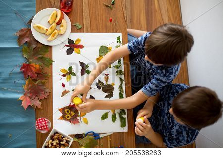 Sweet Children, Boys, Applying Leaves Using Glue
