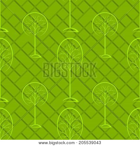 Seamless Background with Woodland Landscape, Forest, Trees Pictograms, Green Tile Pattern for Your Design. Vector