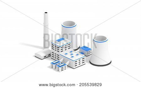 Small nuclear power plant isolated on the white background. 3D render illustration.
