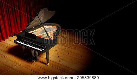 Grand piano at the lighting luxury scene. 3D render illustration