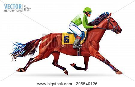 Jockey on horse. Champion. Horse racing. Hippodrome. Racetrack. Jump racetrack. Horse riding. Racing horse coming first to finish line. Vector illustration