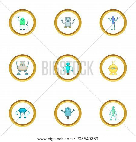 Android icons set. Cartoon style set of 9 android vector icons for web design