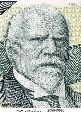 Justo Sierra portrait from old Mexican money