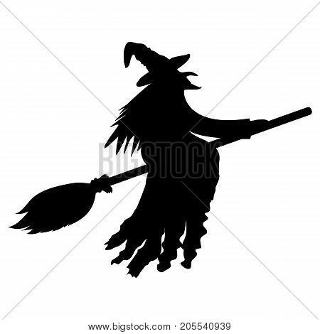 silhouette of a witch on a broomstick on Halloween vector