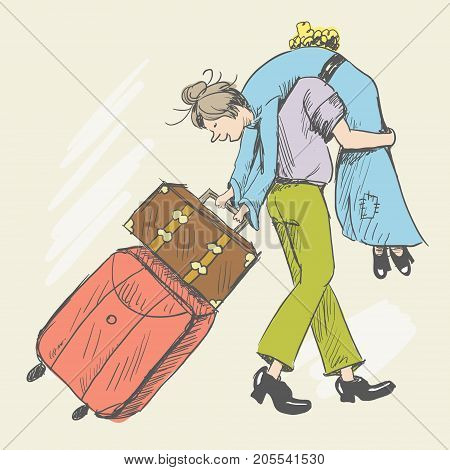 A man carries a tired young girl with disheveled hair. A woman is carrying suitcases. A single picture. Sketch style. Vector illustration