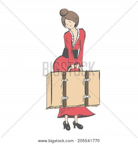 A modest girl holds a suitcase in front of her. Vacation. Waiting for the ship or train. Sketch style. Vector illustration