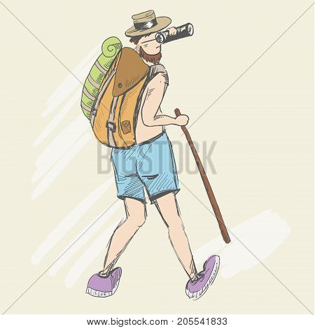 The tired man climbs uphill, looking through binoculars. A man with a naked torso is looking for a road. He carries a stick. Hike and travel. Behind the his back he carry a backpack and tourist foam.