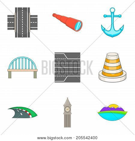 Road to port icons set. Cartoon set of 9 Road to port vector icons for web isolated on white background