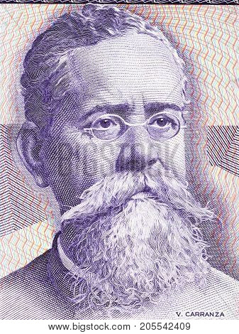 Venustiano Carranza portrait from old Mexican money