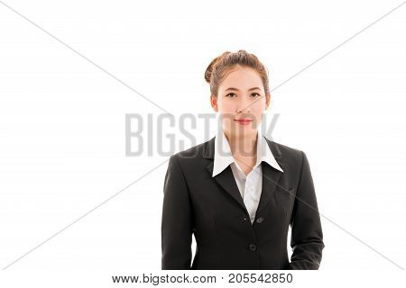 Beautiful young Asian businesswoman smiling in black suit and white t-shirt isolated on white background