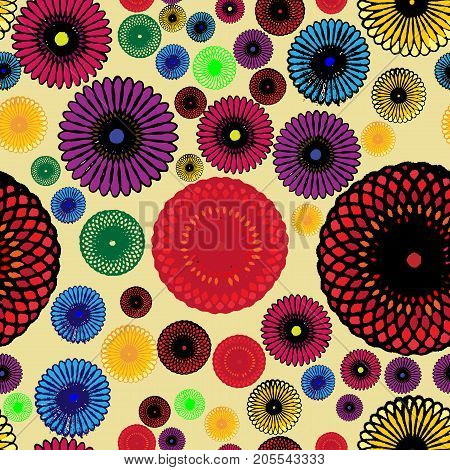 Seamless geometric pattern with colorful rosette; Beautifull design