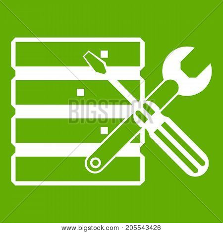 Database with screwdriverl and spanner icon white isolated on green background. Vector illustration