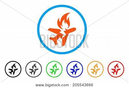 Airplane Fire Crash rounded icon. Style is a flat airplane fire crash orange symbol inside light blue circle with black, gray, green, blue, red, orange variants.
