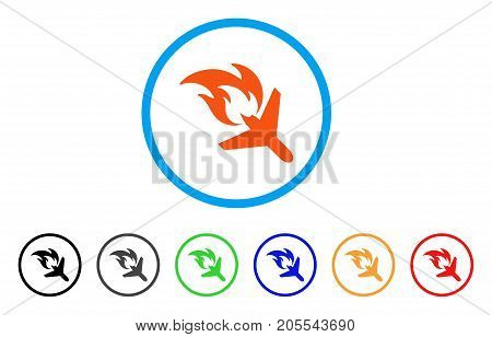 Airplane Fire Disaster rounded icon. Style is a flat airplane fire disaster orange symbol inside light blue circle with black, gray, green, blue, red, orange versions.