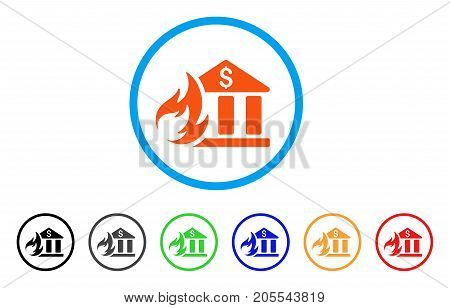 Bank Fire Disaster rounded icon. Style is a flat bank fire disaster orange symbol inside light blue circle with black, gray, green, blue, red, orange variants.