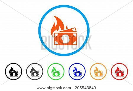 Banknotes Fire Disaster rounded icon. Style is a flat banknotes fire disaster orange symbol inside light blue circle with black, gray, green, blue, red, orange versions.