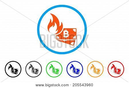 Bitcoin Cash Fire rounded icon. Style is a flat bitcoin cash fire orange symbol inside light blue circle with black, gray, green, blue, red, orange versions.