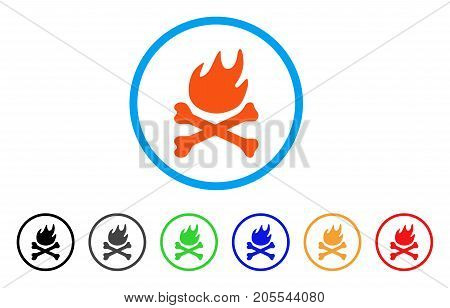 Bones Hell Fire rounded icon. Style is a flat bones hell fire orange symbol inside light blue circle with black, gray, green, blue, red, orange variants.