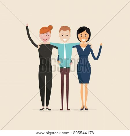 Adult, Men, Women.Three best friends.Happy smiling young man and woman friends.Happy best friends meeting.Happy triple icon.Happy friends icon.Friendly hug and Friendship concept.Vector illustration.