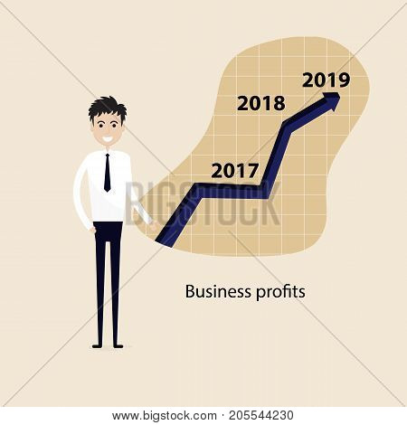 Businessman and stock market arrow presentation.Business profits presentation concept.Cheerful businessman with graph indicating increase.The concept of business success. Vector illustration