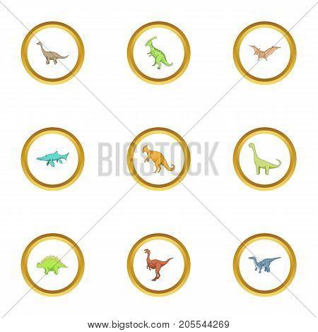 Dinosaur icons set. Cartoon style set of 9 dinosaur vector icons for web design