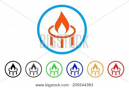 Burner Nozzle Flame rounded icon. Style is a flat burner nozzle flame orange symbol inside light blue circle with black, gray, green, blue, red, orange color versions.