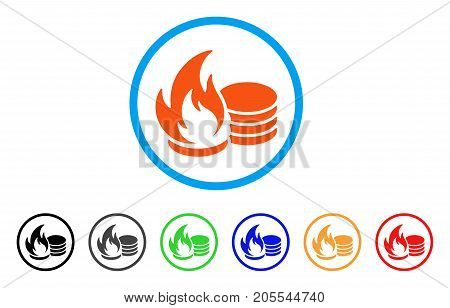 Coins Fire Disaster rounded icon. Style is a flat coins fire disaster orange symbol inside light blue circle with black, gray, green, blue, red, orange variants.