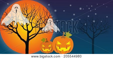 Halloween card with flying ghost and pumpkin and trees in the background
