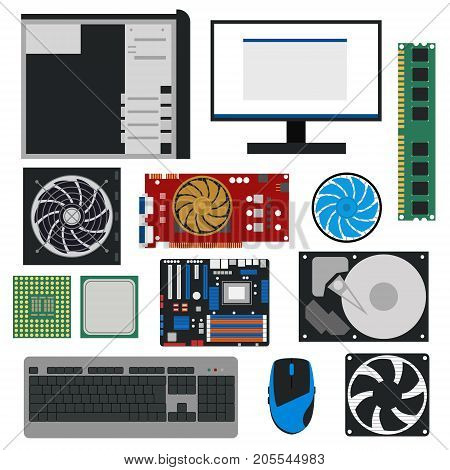 Cartoon PC Components for Computer Store Set Technology Concept Flat Design Style Include of Monitor, RAM, Cooler and HDD. Vector illustration of Pc Element
