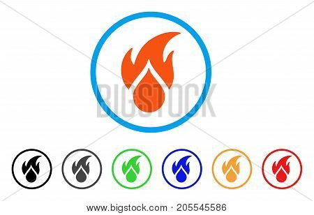 Fired Water Drop rounded icon. Style is a flat fired water drop orange symbol inside light blue circle with black, gray, green, blue, red, orange variants.