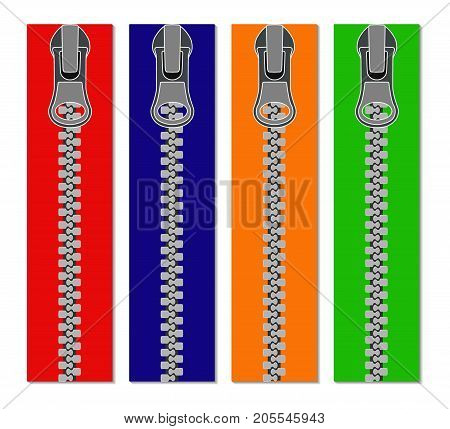 Set Of Colored Zippers For Clothes, Vector Illustration Of Zippers, Realistic.