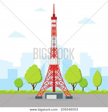 Tokyo TV Tower Tall Metal Famous Monument Building Japanese Symbol Travel Business Concept. Vector illustration of Element Asian Trip