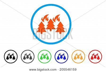 Forest Fire Disaster rounded icon. Style is a flat forest fire disaster orange symbol inside light blue circle with black, gray, green, blue, red, orange versions.