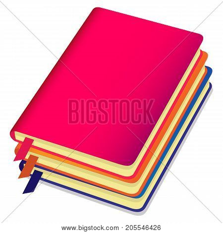 Three Colorful Copybooks Template With Bookmark, Stack Of Notebooks. Vector Illustration.