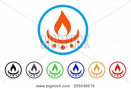 Gas Burner Jet Flame rounded icon. Style is a flat gas burner jet flame orange symbol inside light blue circle with black, gray, green, blue, red, orange color versions.