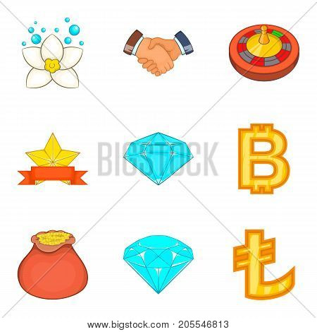 Big budget icons set. Cartoon set of 9 big budget vector icons for web isolated on white background