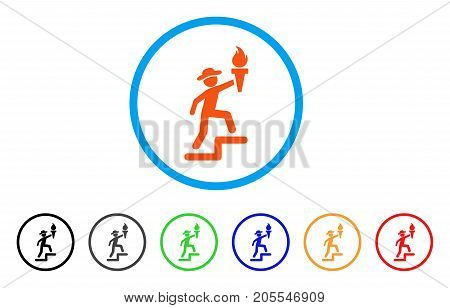 Gentleman Climbing With Torch rounded icon. Style is a flat gentleman climbing with torch orange symbol inside light blue circle with black, gray, green, blue, red, orange color versions.