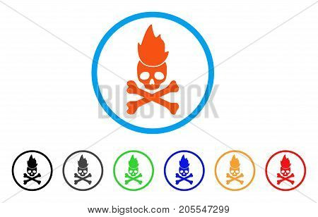 Hell Fire rounded icon. Style is a flat hell fire orange symbol inside light blue circle with black, gray, green, blue, red, orange variants. Vector designed for web and software interfaces.