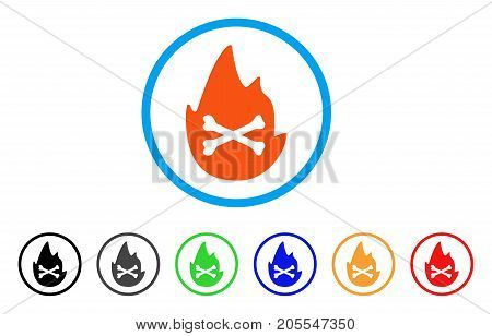 Hellfire Flame rounded icon. Style is a flat hellfire flame orange symbol inside light blue circle with black, gray, green, blue, red, orange variants. Vector designed for web and software interfaces.
