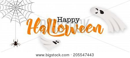 Happy Halloween poster card vector illustration. Funny cartoon ghosts flying in the air, black spider hanging on web, hand drawn lettering isolated on white background. Halloween ghosts, halloween card.