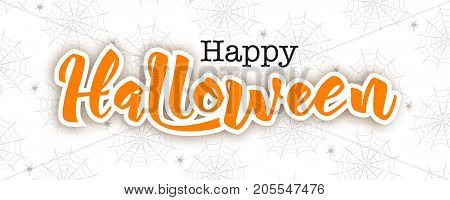 Happy Halloween lettering in paper cut technique, vector illustration. Hand drawn text, spider on web pattern, isolated on white background. Halloween card, spider web.