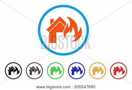 Home Fire Disaster rounded icon. Style is a flat home fire disaster orange symbol inside light blue circle with black, gray, green, blue, red, orange color versions.