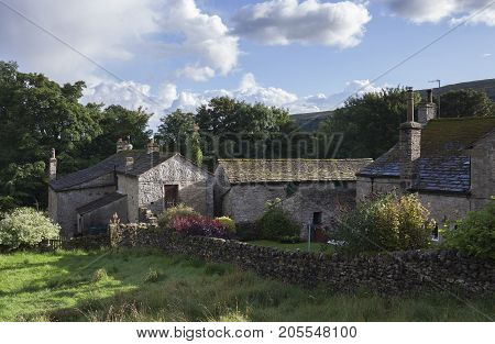 Old farm at Kettlewell Yorkshire Dales National Park England.