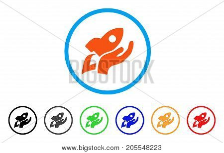 Manual Rocket Launch rounded icon. Style is a flat manual rocket launch orange symbol inside light blue circle with black, gray, green, blue, red, orange color versions.