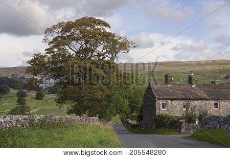 Old Farmhouse near Malham Cove Yorkshire Dales National Park England.