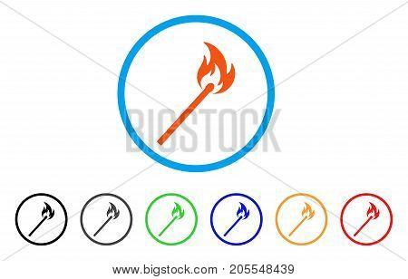 Match Fire rounded icon. Style is a flat match fire orange symbol inside light blue circle with black, gray, green, blue, red, orange variants. Vector designed for web and software interfaces.