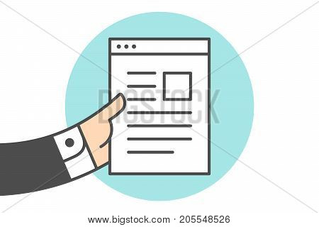 Icon of file letter in the businessman hand. White file letter with text in line graphic. Hand of busnessman holds the file icon. Icon of letter isolated on a blue circle. Vector Illustration