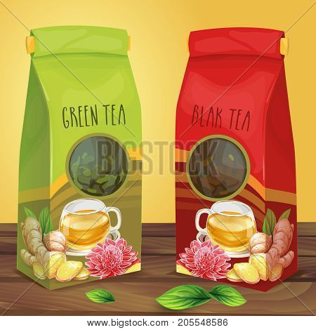 Green and black tea air-tight paper packages with transparent round  window decorated with cup of  tea, sliced ginger root, leaves and flower standing on wooden surface hand drawn vector illustration